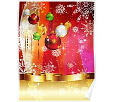 Colorful Background with Xmas Balls 3 Poster