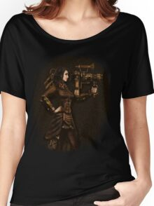 Steam Punk Girl Holding Antique Rocket Launcher Women's Relaxed Fit T-Shirt
