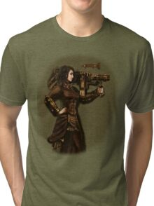 Steam Punk Girl Holding Antique Rocket Launcher Tri-blend T-Shirt