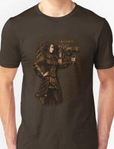 Steam Punk Girl Holding Antique Rocket Launcher Unisex T-Shirt
