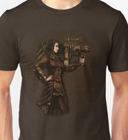 Steam Punk Girl Holding Antique Rocket Launcher Unisex T-Shirt