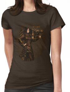 Steam Punk Girl Holding Antique Rocket Launcher Womens Fitted T-Shirt