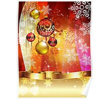 Colorful Background with Xmas Balls 4 Poster
