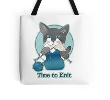 Time to Knit Siamese Cat Knitting Tote Bag