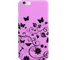 Butterflies, Insects - Pink and Black iPhone Case/Skin