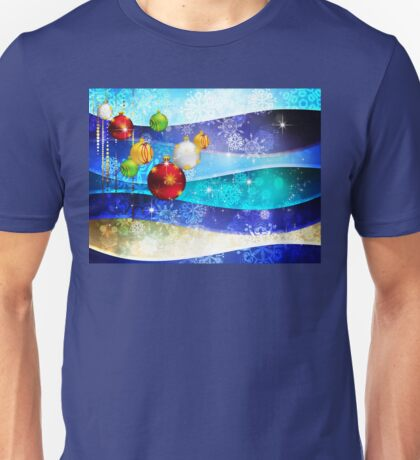 Colorful Background with Xmas Balls 6 Unisex T-Shirt