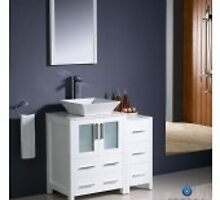 "Fresca Torino 36"" White Modern Bathroom Vanity w/ Side Cabinet & Vessel Sink by aquapeutics"
