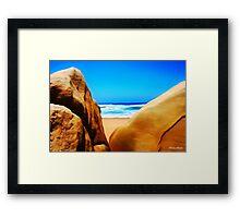 Beach Boulders Framed Print