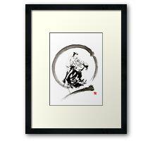 Aikido enso circle martial arts sumi-e samurai ink painting artwork Framed Print