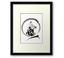 Aikido enso circle martial arts sumi-e samurai ink painting artwork Framed Print