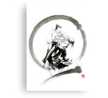 Aikido enso circle martial arts sumi-e samurai ink painting artwork Metal Print