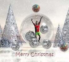 Surrealistic Merry Christmas Boy card by walstraasart