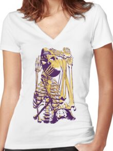 Puzzle Bone Women's Fitted V-Neck T-Shirt