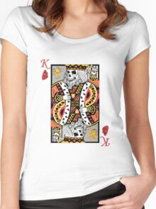 Horror Skeleton King Playing Card Women's Fitted Scoop T-Shirt
