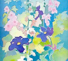 Hollyhocks and Clematis by Anne Bonner