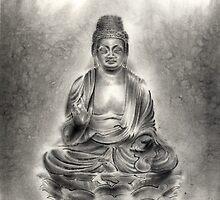 Buddha buddhist sumi-e tibetan calligraphy 禅 original ink painting artwork by Mariusz Szmerdt
