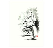 Karate martial arts kyokushinkai Masutatsu Oyama japanese kick japan ink sumi-e Art Print