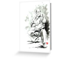 Karate martial arts kyokushinkai Masutatsu Oyama japanese kick japan ink sumi-e Greeting Card