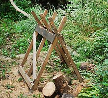 Old Wooden Sawhorse in Forest by jojobob