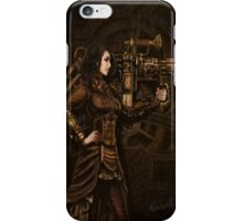 Steam Punk Girl Holding Antique Rocket Launcher iPhone Case/Skin