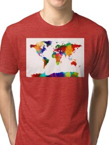 Map of the World Map Painting Tri-blend T-Shirt