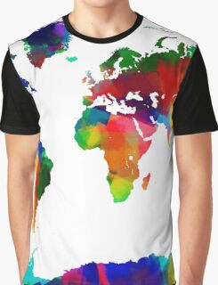 Map of the World Map Painting Graphic T-Shirt