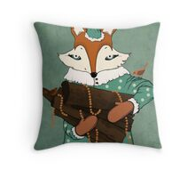 Blue eyes fox Throw Pillow
