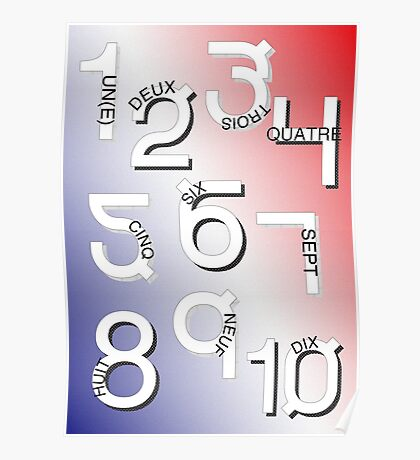 French Numbers 1-10 Poster