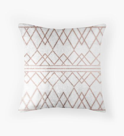 Chic Modern Faux Rose Gold Geometric Triangles Throw Pillow