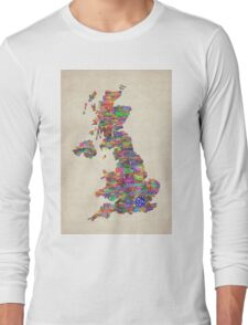 Great Britain UK City Text Map Long Sleeve T-Shirt