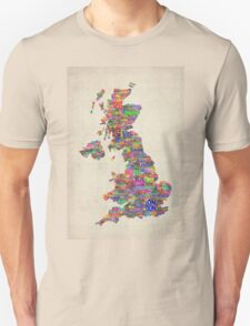 Great Britain UK City Text Map T-Shirt