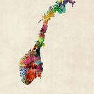 Norway Watercolor Map by Michael Tompsett