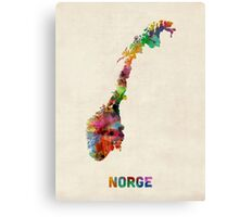 Norway Watercolor Map Canvas Print