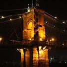 Roebling Suspension Bridge Night by Tony Wilder