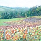 Vineyard Red Hill By Coralie Newman by TwoBaysArtGroup