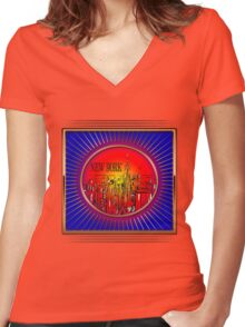 Vintage New York  Women's Fitted V-Neck T-Shirt