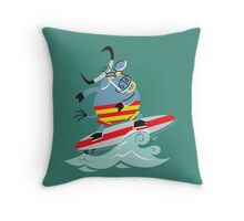Cool Bull On Surfing!!! Throw Pillow