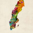 Sweden Watercolor Map by Michael Tompsett