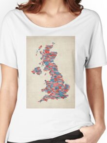 Great Britain UK City Text Map Women's Relaxed Fit T-Shirt