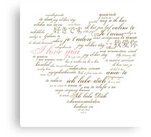 I Love You in Many Languages Canvas Print
