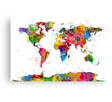 Map of the World Map Watercolor Canvas Print