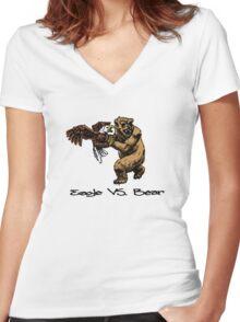 Eagle Vs. Bear Women's Fitted V-Neck T-Shirt