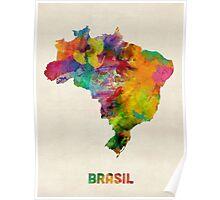 Brazil Watercolor Map Poster