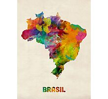 Brazil Watercolor Map Photographic Print