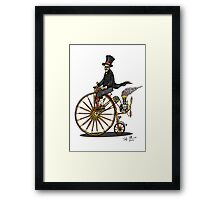 STEAMPUNK PENNY FARTHING BICYCLE (white) Framed Print