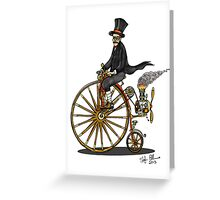 STEAMPUNK PENNY FARTHING BICYCLE (white) Greeting Card