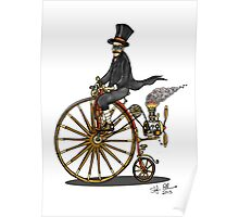 STEAMPUNK PENNY FARTHING BICYCLE (white) Poster
