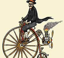 STEAMPUNK PENNY FARTHING BICYCLE (yellow) by squigglemonkey