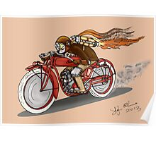 STEAMPUNK INDIAN STYLE MOTORCYCLE (Orange) Poster