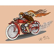 STEAMPUNK INDIAN STYLE MOTORCYCLE (Orange) Photographic Print